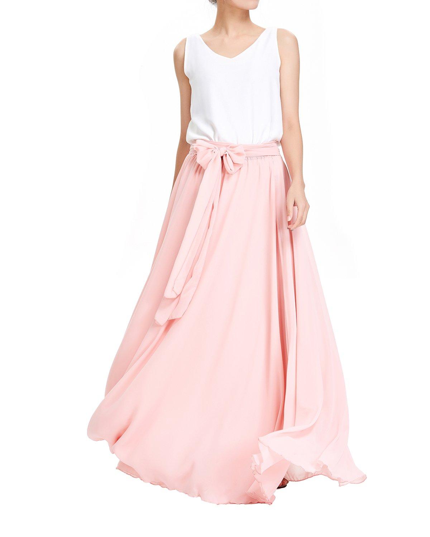Linhuier Women's Summer High Waist Chiffon Beach Maxi Skirt Perfect For Wedding XL,11#