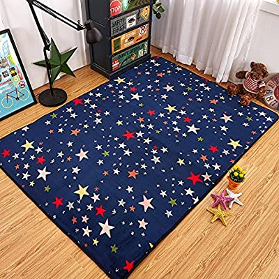 TideTex Fashion Creative Living Room Rug Art Crowne Pattern Kids Play Rug Rectangle Collapsible Bedroom Rug Beautiful Soft Children Crawling Carpet