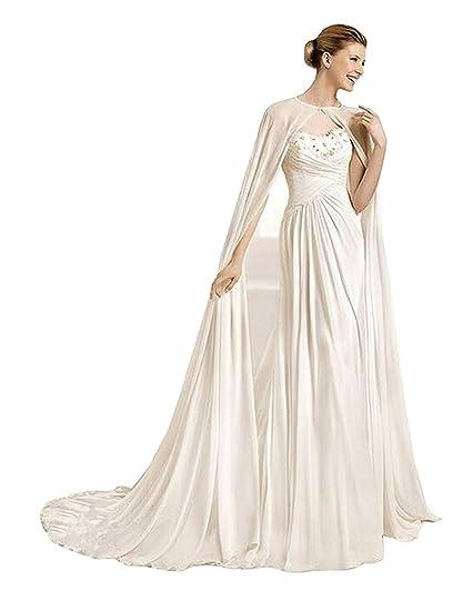 Chiffon Long Wedding Cape Cathedral Length Bridal Cloak Bride Cape 200cm (Ivory, 200cm)