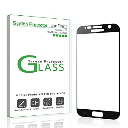 galaxy s7 screen protector glass full screen coverage amfilm bye bye amazoncom tempered glass