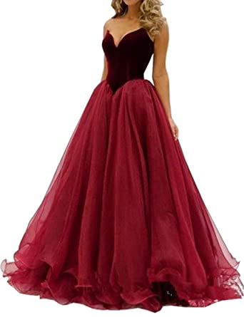 Mulanbridal Womens Strapless Velvet Evening Gowns Ball Gown Prom Dresses Long Black 2
