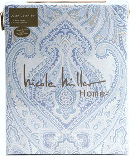 Nicole Miller Home Duvet Cover 3 Piece Set Paisley Moroccan Blue Gray Taupe (Queen)