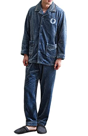 DAFREW Pijama de lana polar de los hombres - Ropa de casa de otoño e invierno