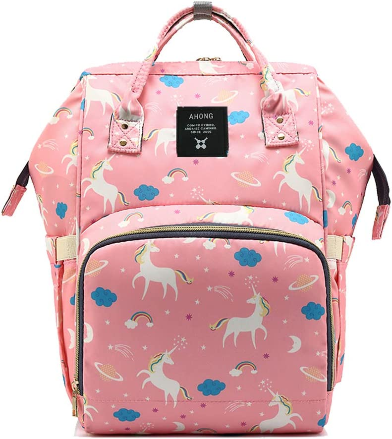 Large Capacity Waterproof Wide Open Design Baby Nappy Changing Bag Backpack Multi-Function for Mom//Dad Travel with Baby-Unicorns Print Black