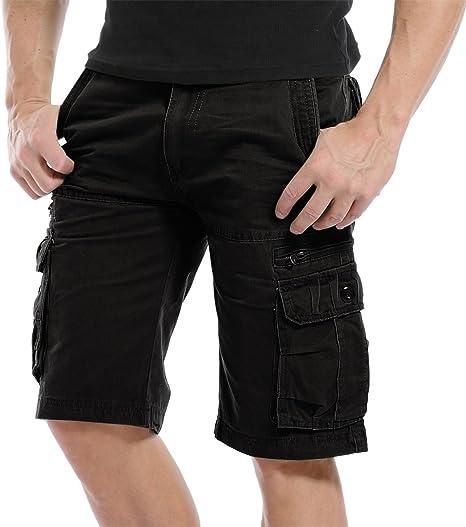 TALLA 32W. Pantalones cortos de algodón para hombre, estilo cargo