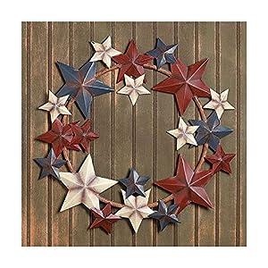 Metal Stars Americana Wreath Patriotic 4th of July Door Hanging Decor 48