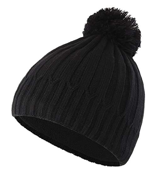 Home Prefer Toddler Boys Winter Hat with Fleece Warm Knit Skull Beanie with  Pom Black e7c8a367786