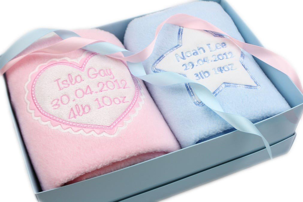 Personalised Baby Gift Twins Blankets Newborn Twin Gift Set Any Combination 1pink1blue TinyGemz
