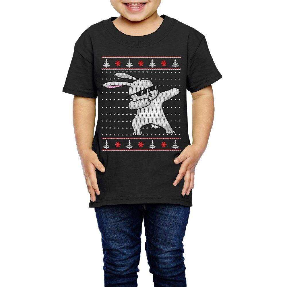 XYMYFC-E Dabbing Bunny Funny Ugly Christmas Xmas 2-6 Years Old Child Short-Sleeved Tshirts