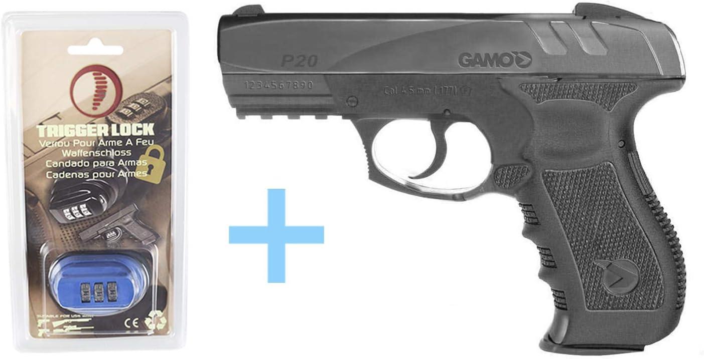 Gamo Pack Pistola Aire comprimido GP-20 Combat, Pistola Gas Semi-automática, Potencia 3 Julios, Calibre 4,5 mm, Armas de Bolas, Cargador para 20 Bolas, Pistola co2 + Candado Seguridad Yatek.