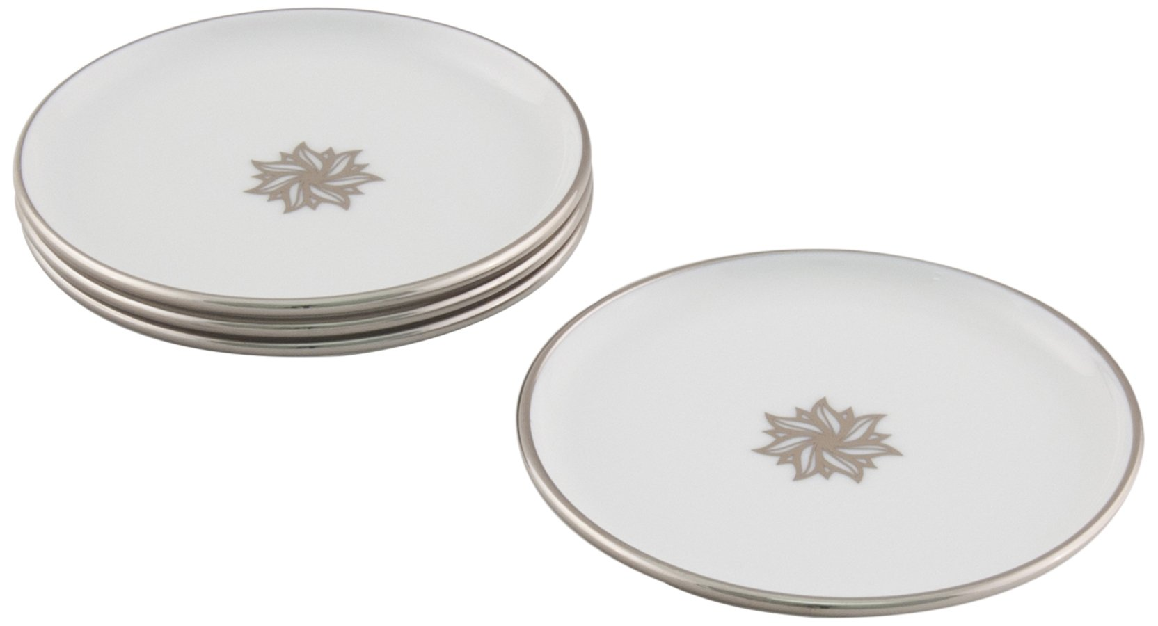 Maison Alma AR102WP Arienne Collection Decorative Drink Coasters, White Limoges Porcelain with Platinum Accents, Set of 4
