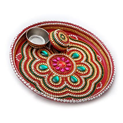 Buy akbari traders pooja thali aarti thali for home handicraft akbari traders pooja thali aarti thali for home handicraft and stone work pooja junglespirit Image collections