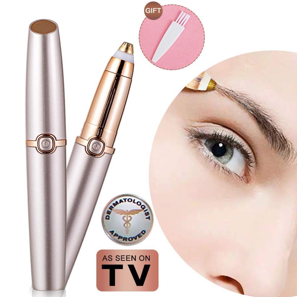 Eyebrow hair Trimmer Epilator for Women, Libao Eye brow Remover Painless Facial Brows Hair Removal with LED Light As Seen on TV (Rose Gold)