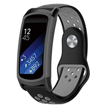 FUNKID Band for Samsung Gear Fit2/Fit2 Pro Smartwatch SM-R365/R360 Strap Replacement with Stainless Metal Adapters Connecter