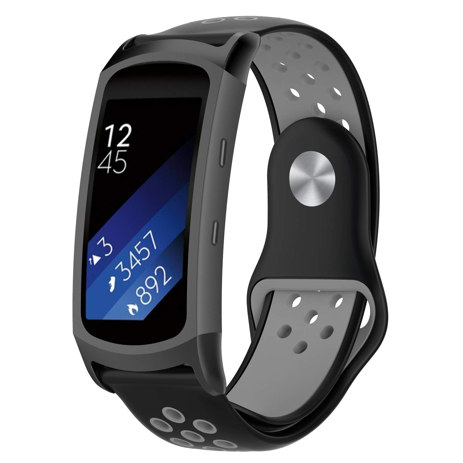 FUNKID Band for Samsung Gear Fit2/Fit2 Pro Smartwatch SM-R365/R360 Strap Replacement with Stainless Metal Adapters Connecter Black Gray