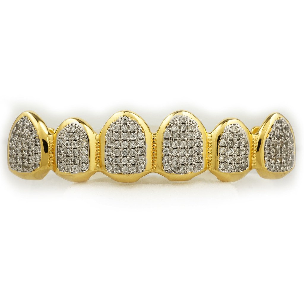 18K Gold Plated CZ Top Bottom CUSTOM GRILLZ SET (Top Only) by Niv's Bling
