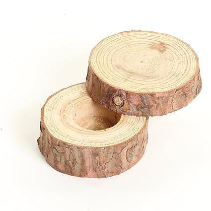Koyal al por mayor real madera caja de anillos de boda anillos de boda de madera