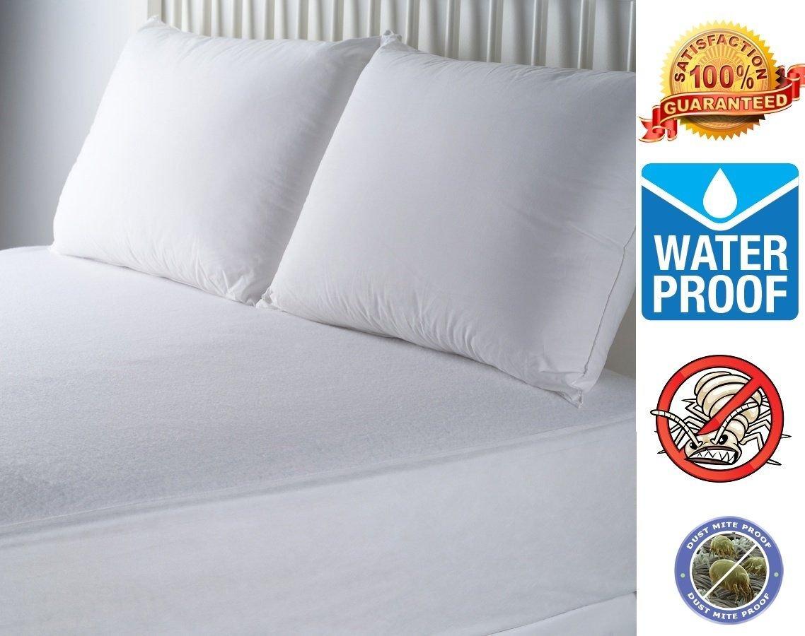 Hypoallergenic Waterproof Ultra Soft BedBug Zipper Mattress Cover Protector (Queen)