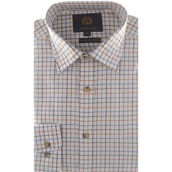 4439431a84 Viyella Tattersall Shirt 80% Cotton 20% Wool  Amazon.co.uk  Clothing