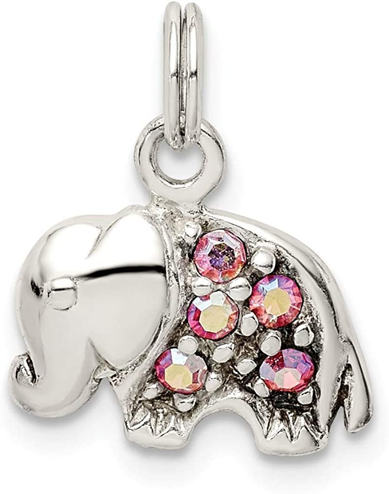 925 Sterling Silver Crystal Elephant Pendant