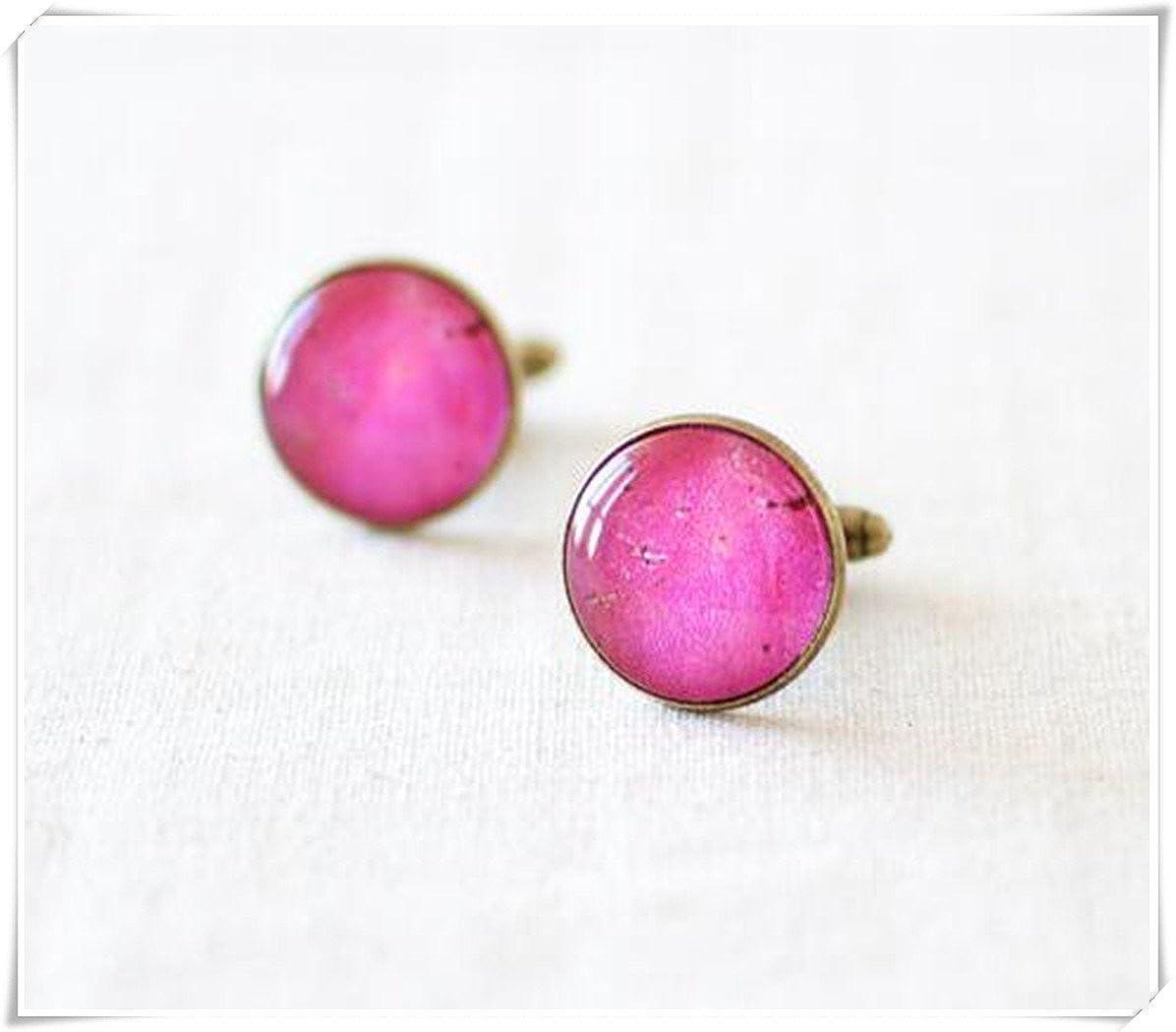 Faux Raw Ruby Stone Cufflinks. Ruby Pink Round Cufflinks. CX28