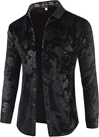 Beloved Mens Casual Long Sleeve Velvet Button Down Shirt Slim Fit Dress Shirt