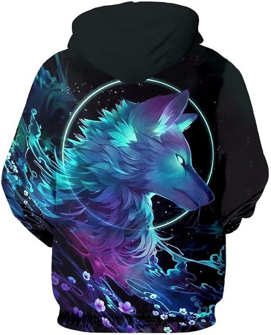 Man Hip Hop Streetwear Crewneck Pullovers Men 3D Print Galaxy Space Wolf Sweatshirt Hoodies