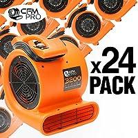 CFM PRO Air Mover Carpet Floor Dryer 2 Speed 1/2 HP Blower Fan - Orange - Industrial Water Flood Damage Restoration (24 Pack)