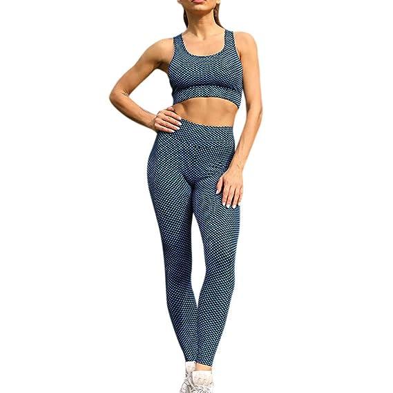 beautyjourney Set de Yoga para Mujer Sport Fitness Skinny Chaleco y Pantalones Top de Yoga de Cintura Alta Leggings Pantalones Deportivos: Amazon.es: Ropa y ...