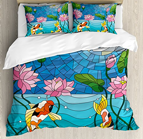 Lunarable Koi Fish Duvet Cover Set Queen Size, Stained Glass with Asian Details Mosaic Lotus Flowers Sun Fish Oriental Work, Decorative 3 Piece Bedding Set with 2 Pillow Shams, Blue Multicolor