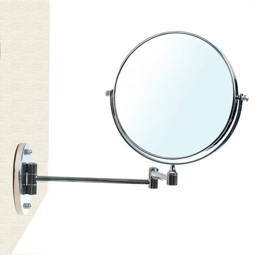 HIMRY Wall Cosmetic Mirror 8 Inch 7x Magnification, Double Sided Shaving Mirror Make Up Mirror, with Drilling or Without drilling (Power LOC), Foldable Swivel Bathroom Wall Mount Mirror, Chrome finish, KXD3107-7x KXSHOP