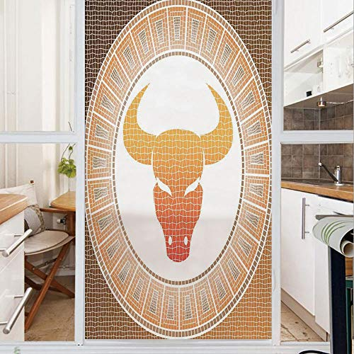Decorative Window Film,No Glue Frosted Privacy Film,Stained Glass Door Film,Taurus on Abstract Mosaic Background Earth in Cosmos Power Bull Artsy Design Decorative,for Home & Office,23.6In. by 59In Br