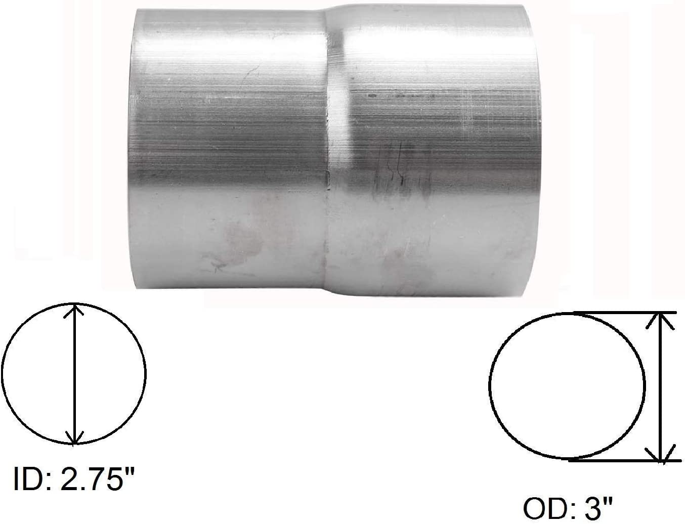 BETTERCLOUD Universal 2.75 Stainless Steel Butt Joint Band Exhaust Clamp /& 2.75 ID to 3 OD Exhaust Pipe Adapter Connector Reducer Mild Steel