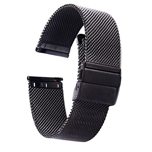 Amazon.com: [ZHUGE] Watch Straps - New Style Double-Press Clasp Buckle Milanese Mesh Watch Bands 18mm Black: Watches