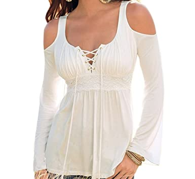 Blouses & Shirts Gentle Women Sexy Long Sleeve Bandage Tops Deep V Lace Up Casual Tunics Lace Crochet Blouse