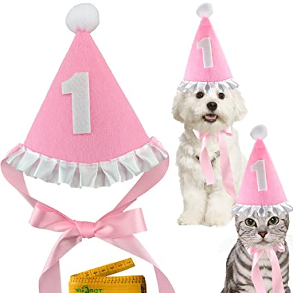 Pink Pet Dog Cat Birthday Holiday Party Hat Headwear Costume Accessory With A White Ball And
