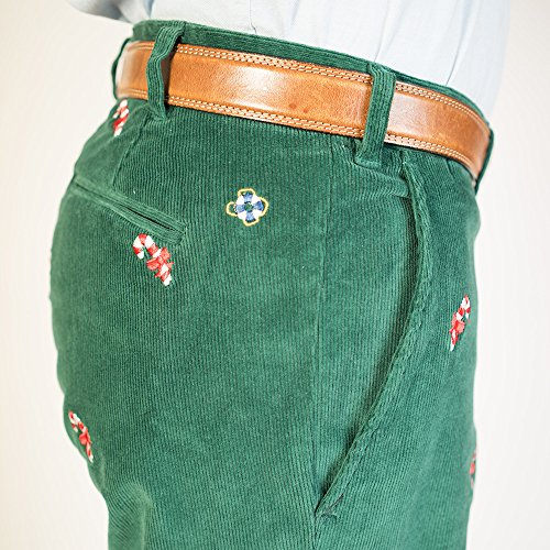 THE FINE SWINE and Castaway Clothing Castaway Embroidered Holiday Pants 40 Hunter Green with Candy Canes by THE FINE SWINE and Castaway Clothing (Image #1)