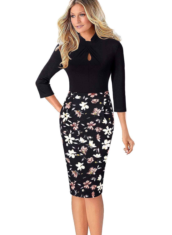 Black+multi Floral Print VFSHOW Womens Black Floral Print Keyhole Front Pockets Slim Work Business Office Church Sheath Dress