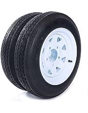 """Motorhot Trailer Tire + Rim 4.80-12 480-12 4.80 X 12 12"""" 5 Lug White Wheel Spoke Mounted 5x4.5 bolt circle - 2 pcs"""