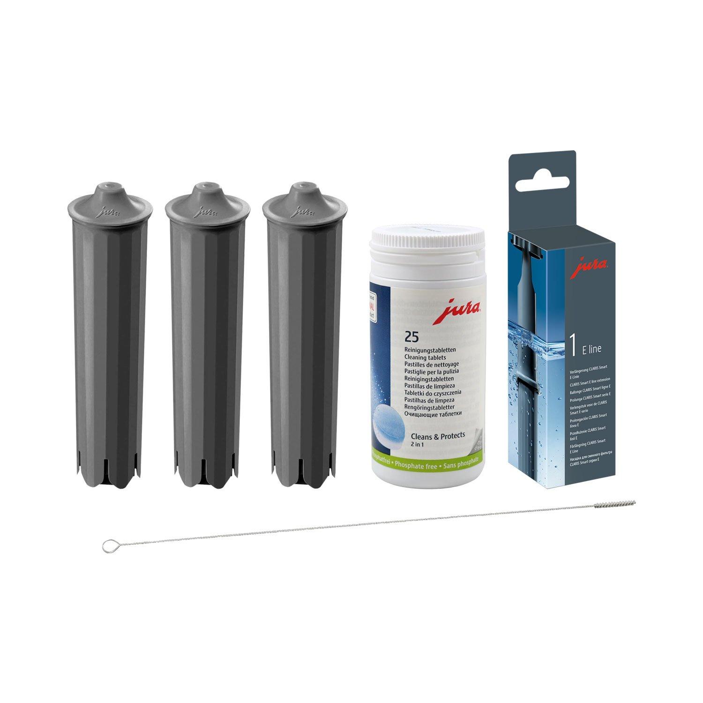 Jura Claris - Juego de 3 x QUVIDO Smart + Jura Claris - Lote de 25 Jura Tabletas de limpieza + alargador Smart + Cepillo de limpieza: Amazon.es: Hogar
