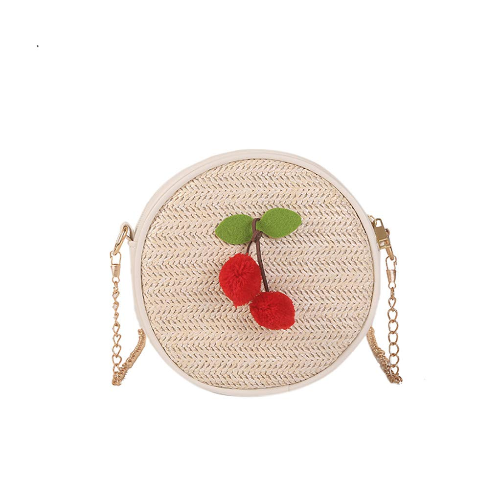 TOTOD Bags INS Style Round Rattan One Shoulder Straw Crossbody Bag Summer Beach Weave Chain Purse