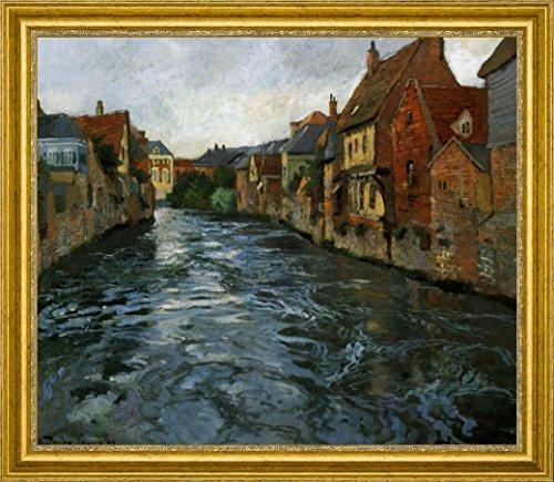 """Bord de Riviere, Vue d'Abbeville by Fritz Thaulow - 21"""" x 26"""" Framed Premium Canvas Print"""