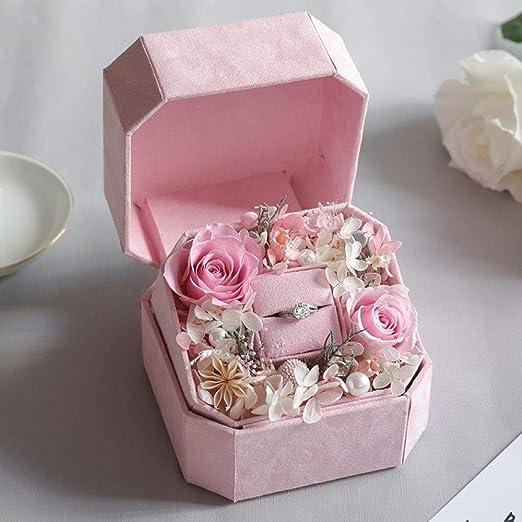 Eternal Flower Rose Matrimonio Anillo Caja Regalo De ...