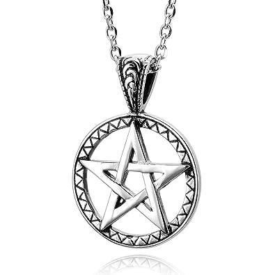 6db28165d691 MunkiMix Acero Inoxidable Colgante Collar El Tono De Plata Cinco Pentáculo  Pentagrama Estrella Hombre