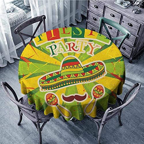 ScottDecor Kids Round Tablecloth Outdoor Picnics Fiesta,Sprites with Sombrero Maracas Mustache Mexican Hand Drawn Illustration, Green Yellow Vermilion Diameter 70