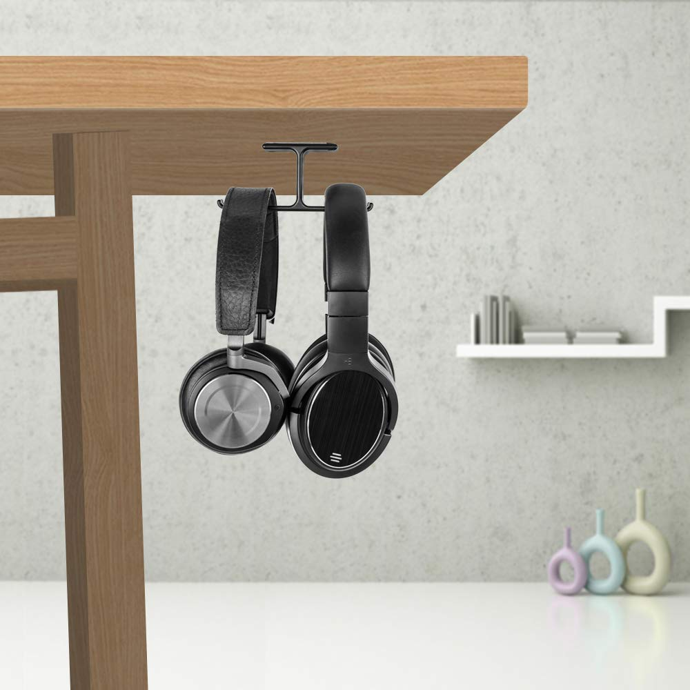 Headphone Stand New Bee Universal Aluminium Headphone Holder Punch Free Under Desk Dual Headsets Holder Mount for All headphone (Schwarz)
