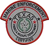 "Texas Parks and Wildlife Department MARINE ENFORCEMENT Certified Patch 4 1/2"" wide by 4"" tall"