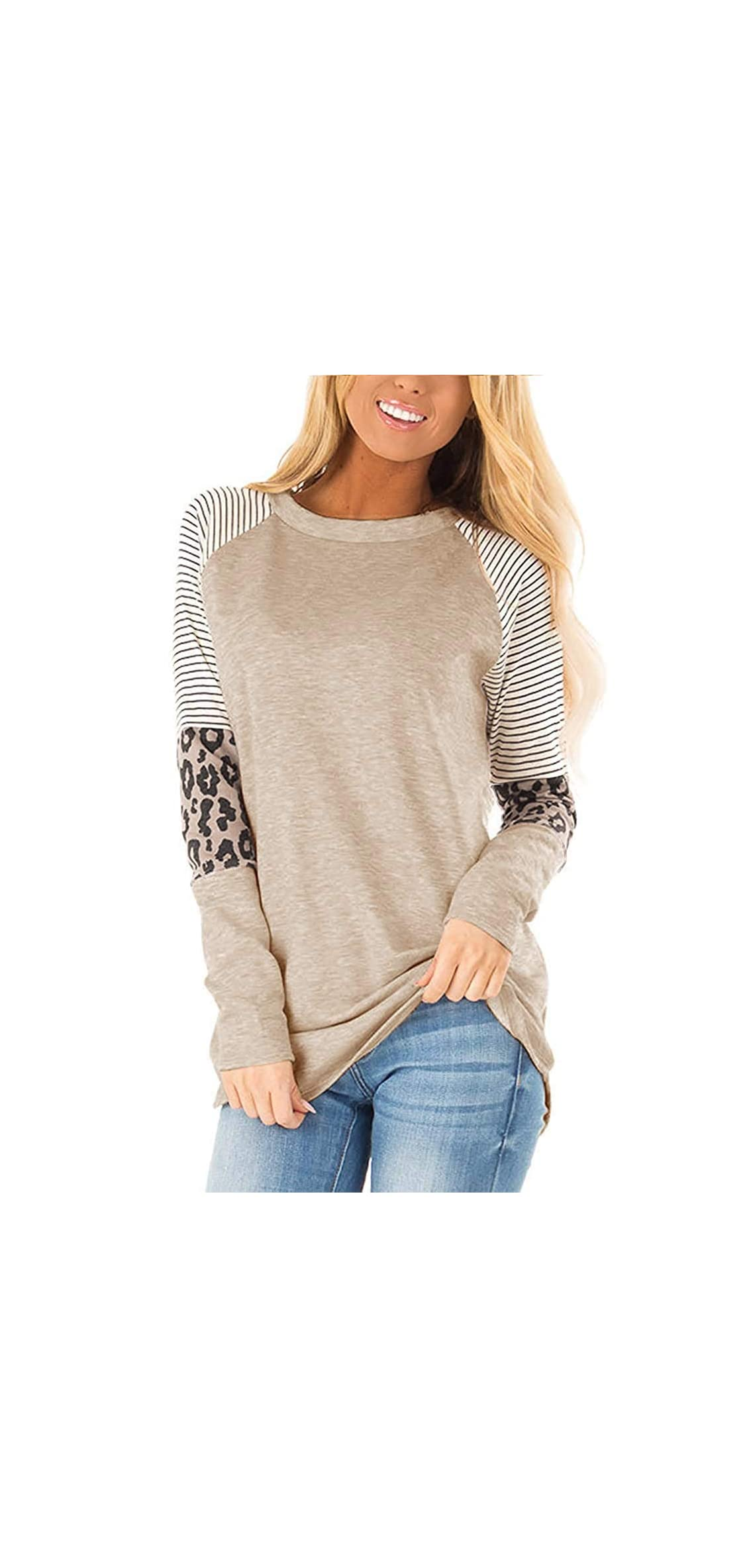 Women's Long Sleeve Leopard Print Tops Striped Color T