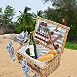 SatisInside New 2020 USA Insulated Luxury 28Pcs Kit Wicker Picnic Basket Set for 4 People - Reinforced Handle - Grey Stripes