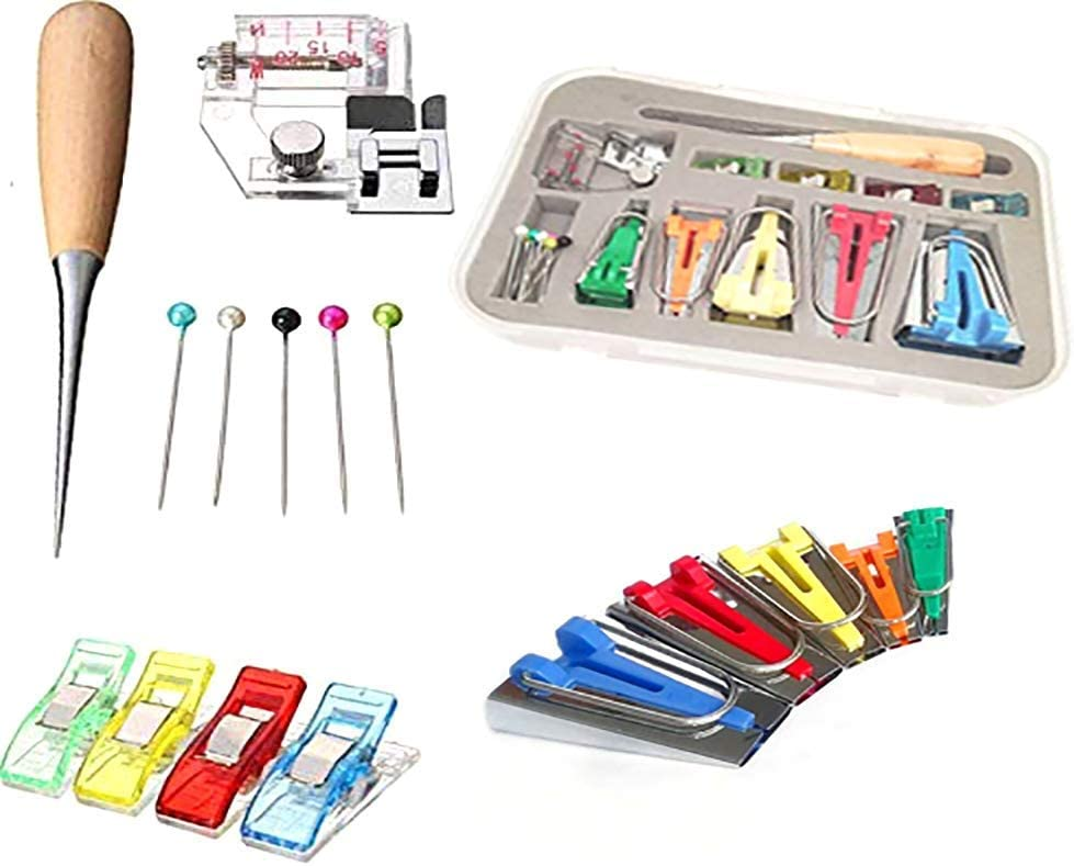 Ball Pins Awl Bias Tape Maker Kit 6mm//9mm//12mm//18mm//25mm Bias Tape Makers with Instructions Bias Binding Maker for Quilting Sewing DIY Binding Foot